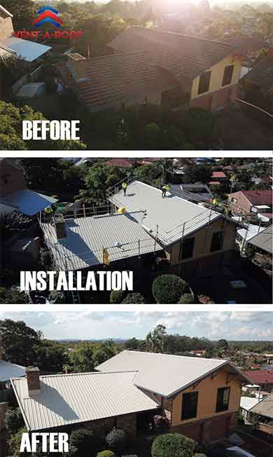Vent-a-Roof installation on a new metal roof - residential retro-fit